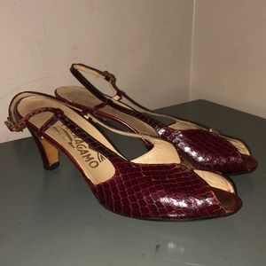 Salvatore Ferragamo heels shoes red leather snake